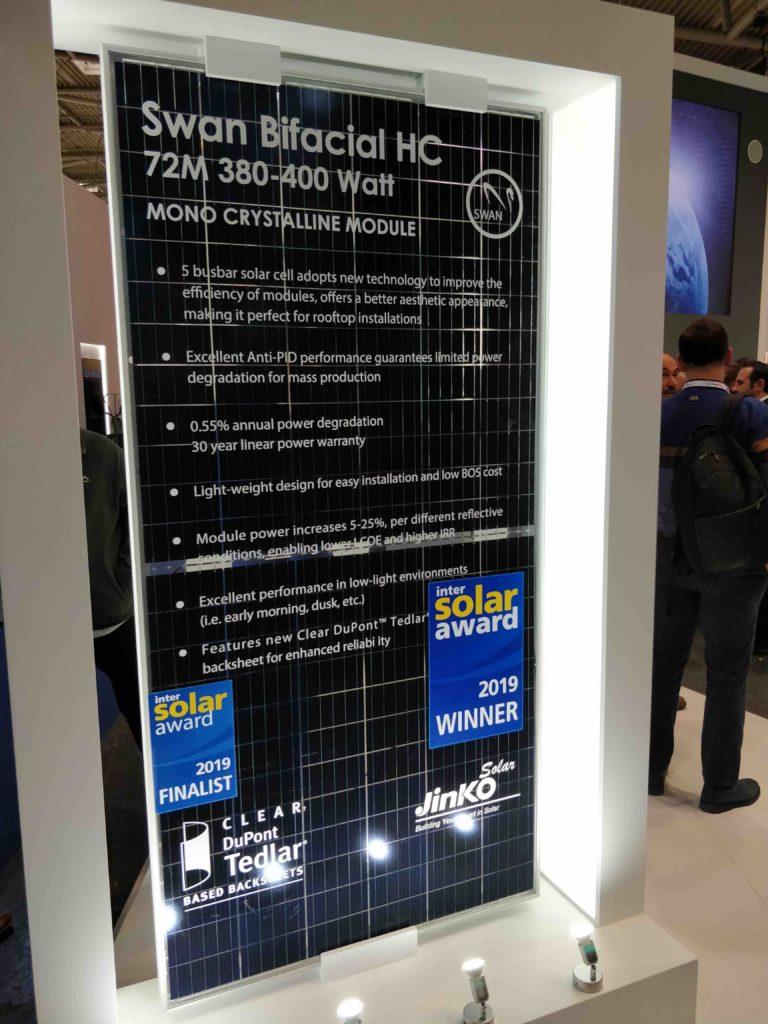 لوح  سوان ثنائي الوجه من شركة جينكو سولار – Jinko Solar Swan Module