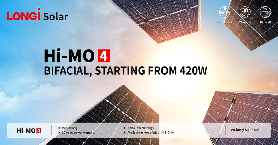 لوح Hi-MO4 ثنائي الوجه من شركة لونجي سولار – Longi Solar Hi-MO4 Bifacial Module