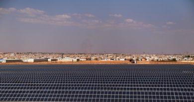 محطة طاقة شمسية في مخيم الأزرق في الأردن