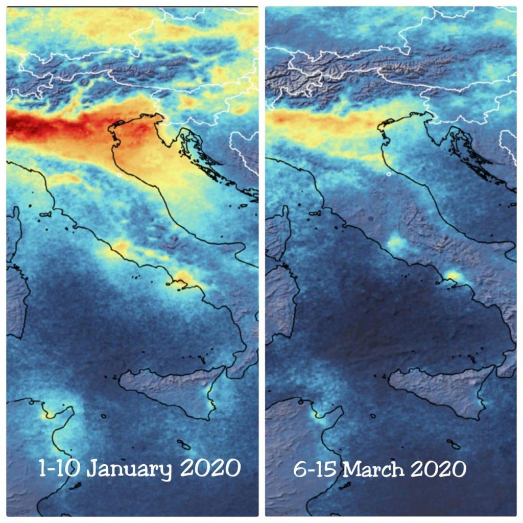 اختلاف نسب تلوث الهواء فوق ايطاليا كورونا