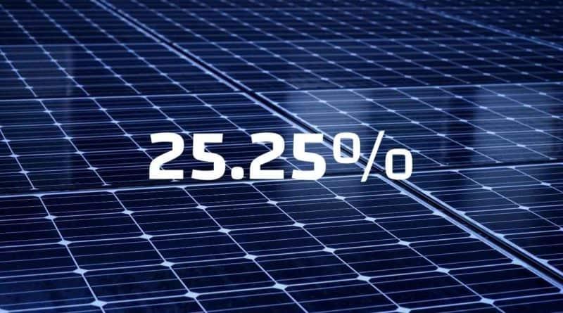 أعلى كفاءة للخلية الشمسية